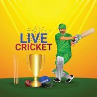 concetto di partita di cricket con stadio e sfondo vettore