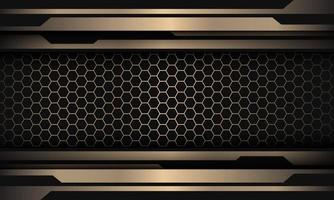 linea nera astratta dell'oro cyber sul modello di maglia esagonale design moderno lusso futuristico sfondo illustrazione vettoriale. vettore