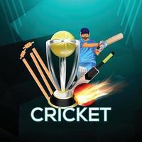 concetto di partita di cricket con stadio vettore