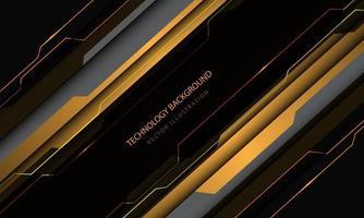 tecnologia astratta circuito cyber giallo grigio metallico taglio velocità design moderno sfondo futuristico illustrazione vettoriale. vettore
