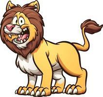 leone cartone animato in piedi vettore