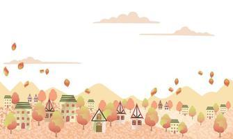 paesaggio collinare senza soluzione di continuità con un villaggio tranquillo e lo spazio del testo. ripetibile orizzontalmente. vettore