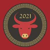 rosso nero marrone chiaro 2021 anno del bue grafico del cerchio del capodanno cinese vettore