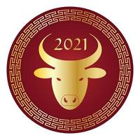 oro metallizzato e rosso 2021 anno del bue grafico del cerchio del capodanno cinese vettore