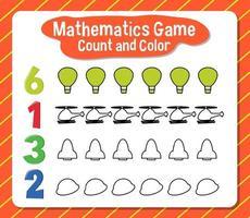 conteggio del gioco di matematica e foglio di lavoro a colori per gli studenti vettore