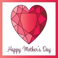 grafica cuore rubino felice festa della mamma vettore