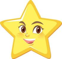 personaggio dei cartoni animati stella con espressione faccia felice su sfondo bianco vettore