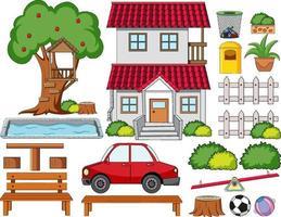 una casa con set di decorazioni per esterni isolato vettore
