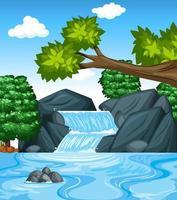 scena di sfondo foresta con cascata vettore