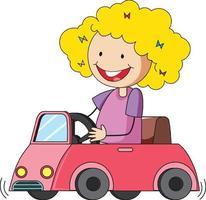 una ragazza in un personaggio dei cartoni animati di auto giocattolo isolato vettore