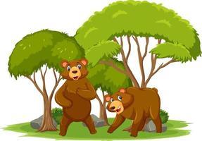 scena isolata con personaggio dei cartoni animati di orso vettore