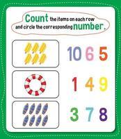 foglio di lavoro del numero di conteggio matematico vettore