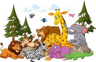 personaggio dei cartoni animati di gruppo di animali selvatici su sfondo bianco vettore
