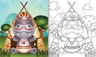 modello di libro da colorare per bambini con un simpatico personaggio di ippopotamo boho tribale illustrazione