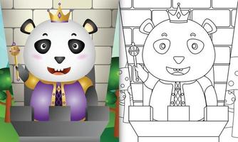 modello di libro da colorare per bambini con un simpatico personaggio di re panda