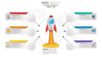 6 passaggi di infografica di avvio con lancio di razzi. concetto di affari e finanza. vettore