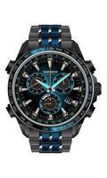 orologio realistico orologio cronografo blu design in acciaio metallo grigio scuro per uomini su sfondo bianco illustrazione vettoriale. vettore