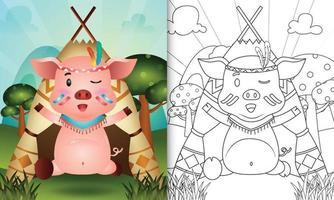 modello di libro da colorare per bambini con un simpatico personaggio di maiale boho tribale illustrazione