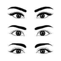 set di occhi disegnati a mano realistici vettore