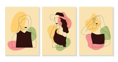 set di donne in stile arte linea elegante vettore