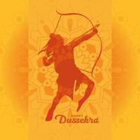 felice dussehra e signore ram con arco e freccia arancione disegno vettoriale silhouette