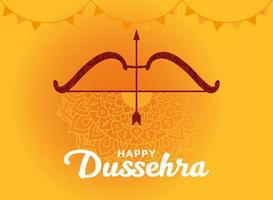felice dussehra e arco con freccia su disegno vettoriale sfondo giallo mandala