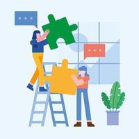 concetto di lavoro di squadra con donne e puzzle vettore