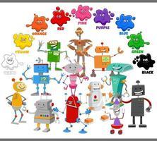 colori di base per bambini con gruppo di personaggi robot vettore