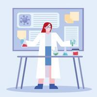 progetto di ricerca sul vaccino contro il coronavirus con donna chimica che lavora vettore