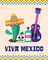 banner del giorno dell'indipendenza messicana vettore