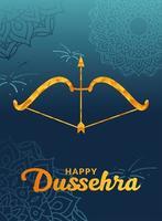 felice dussehra e arco con freccia su disegno vettoriale sfondo blu mandala