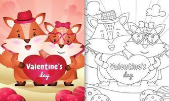 libro da colorare per bambini con coppia di volpi carino illustrato vettore