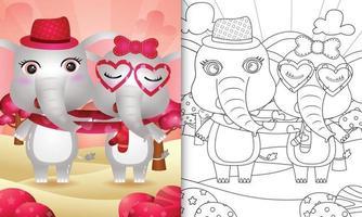 libro da colorare per bambini con coppia di elefanti di San Valentino illustrati vettore