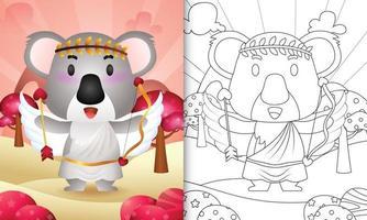 libro da colorare per bambini con un simpatico angelo koala con costume da cupido a tema San Valentino vettore