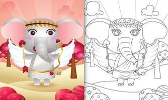 Libro da colorare per bambini con un simpatico angelo elefante che usa il costume di Cupido a tema San Valentino vettore