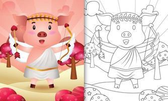 libro da colorare per bambini con un simpatico angelo maiale con costume da cupido a tema San Valentino vettore