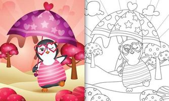 libro da colorare per bambini con un simpatico pinguino con ombrello a tema San Valentino