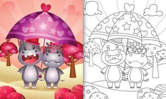 libro da colorare per bambini con una coppia di ippopotami carino con ombrello a tema San Valentino vettore