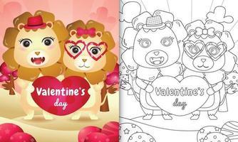 libro da colorare per bambini con coppia di leoni di san valentino illustrata vettore