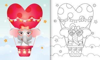 Libro da colorare per bambini con una graziosa femmina di elefante in mongolfiera a tema San Valentino vettore