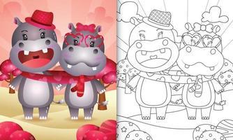 libro da colorare per bambini con coppia di ippopotami carino illustrato di san valentino vettore