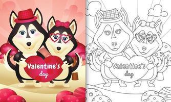 libro da colorare per bambini con coppia di cani husky di San Valentino illustrato