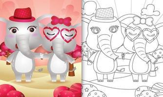 libro da colorare per bambini con un simpatico paio di elefanti a tema San Valentino vettore