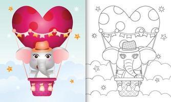 Libro da colorare per bambini con un simpatico elefante maschio in mongolfiera a tema San Valentino vettore