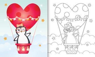 Libro da colorare per bambini con una simpatica femmina di pinguino in mongolfiera a tema San Valentino