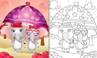 libro da colorare per bambini con una coppia di elefanti carini con ombrello a tema San Valentino vettore