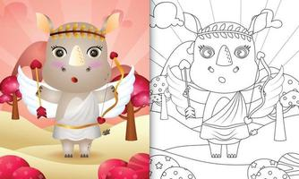 Libro da colorare per bambini con un simpatico angelo rinoceronte che usa il costume di Cupido a tema San Valentino vettore