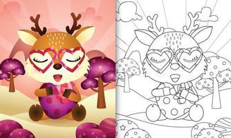 libro da colorare per bambini con un simpatico cervo che abbraccia il cuore a tema San Valentino vettore