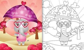 libro da colorare per bambini con un simpatico elefante con ombrello a tema San Valentino vettore