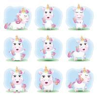 simpatica collezione di unicorni nello stile dei bambini vettore
